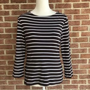 Tory Burch Brown White Striped Long Sleeve Large